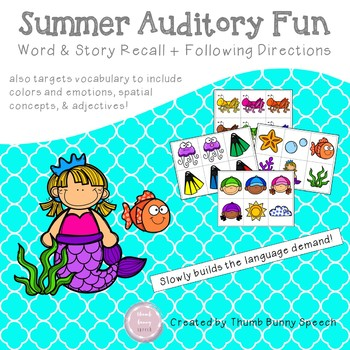 Summer Auditory Fun: Word & Story Recall + Following Directions