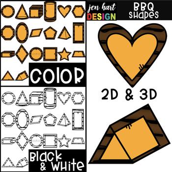 Summer BBQ  2D & 3D Cheeseburger Shapes Clip Art {jen hart