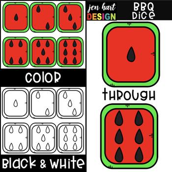 Summer BBQ Dice Clip Art: Watermelon Dice 1-6 {jen hart Clip Art}