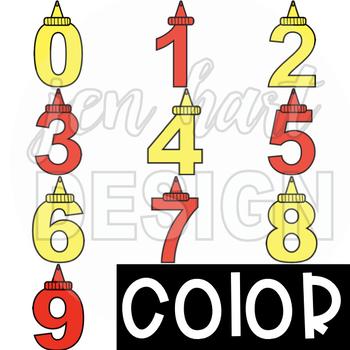 Summer BBQ Numbers Clip Art: Ketchup and Mustard {jen hart Clip Art}