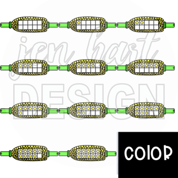 Summer BBQ Ten Frame Clip Art: Corn on the Cob 0-10 {jen hart Clip Art}