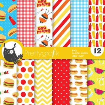 Summer BBQ digital paper, commercial use, scrapbook papers - PS723