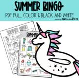 Summer BINGO Color & Black and White
