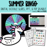 Summer BINGO Digital Google Slides and Printable PDF BUNDLE
