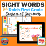 Summer BOOM CARDS Speech Therapy Dolche first grade sight words reading NO PRINT