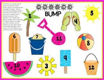 Summer BUMP Addition Math Game - Freebie