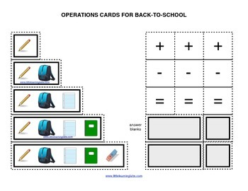 Summer Back to School operations cards prek primary math addition subtraction