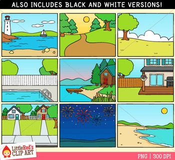 Summer Background Scenes Clip Art