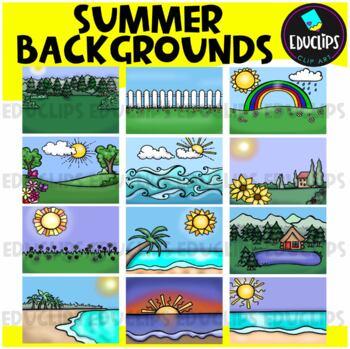 Summer Backgrounds Clip Art Bundle {Educlips Clipart}