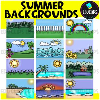 Summer Backgrounds Clip Art Bundle {Educlips Clipart}