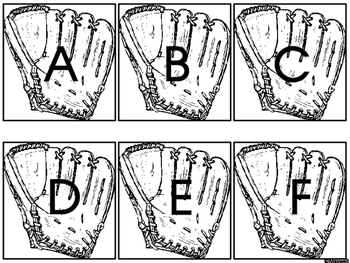 Spring and Summer Baseball and Mitt Letter Matching Color or Black and White