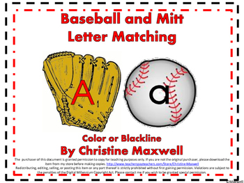 ‪Spring and Summer Baseball and Mitt Letter Matching Color or Blackline