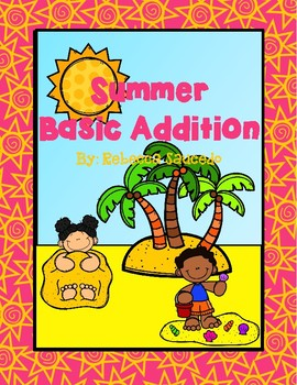 Summer Basic Addition Math Worksheet (sums up to 10)