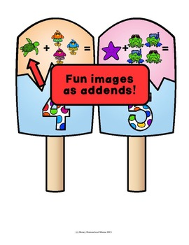 Summer Basic Addition Puzzles in Cool Popsicle Shapes