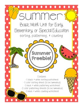Summer Basic Math Freebie for Early Elementary or Special Education