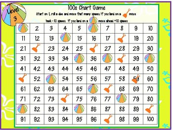 Summer Beach 100s chart Games (3 Differentiated) Common Core Aligned
