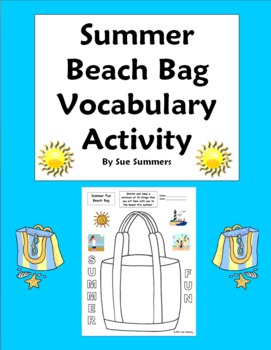 Summer Beach Bag Sketch and Label Vocabulary Activity - English