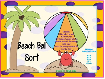 Summer Beach CVC Middle Vowel Sort- Common Core