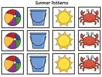 Summer Beach Calendar Cards / May, June, July / Numbers / Patterns