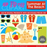 Summer Beach Clip Art Red Set (Digital Use Ok!)