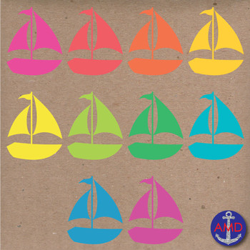 Summer & Beach Clip Art: Anchors, Sailboats, Palm Trees, Flipflops and Seagulls