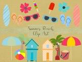 Summer Beach Clip Art Set, Separate PNG Files, High Resolution.
