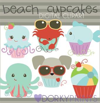 Summer Beach Cupcakes Clip Art