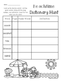 Summer / Beach Dictionary Hunt - Practice - Guide Words (End of the Year)