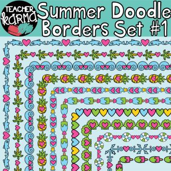 Summer Beach Doodle Borders Set #1