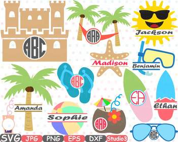 Summer Beach Frame frames SVG Sun clipart Sand Castle Surfboard Palm tree 688s