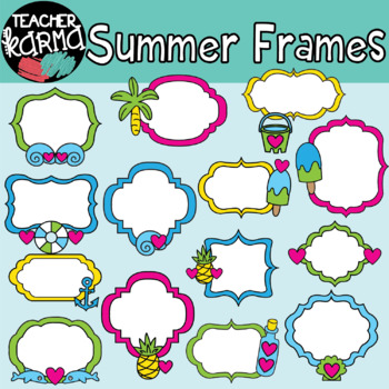 Summer & Beach Frames Clipart by Teacher Karma   TpT