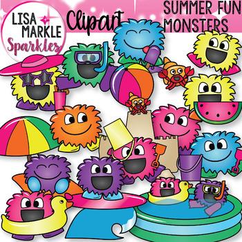 Summer Beach Fun Happy Monsters Clipart