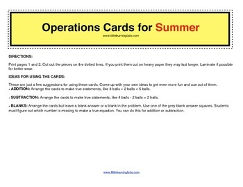 Summer Beach Fun operations cards prek primary math addition subtraction