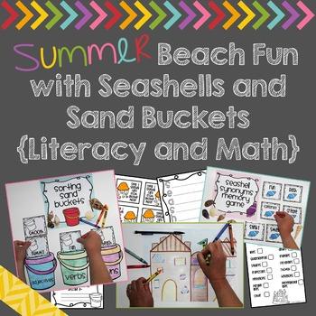 Summer Beach Fun with Seashells and Sand Buckets {Literacy and Math}