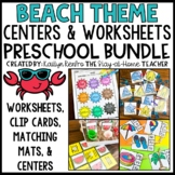Summer Beach Math and Literacy Bundle for Preschool