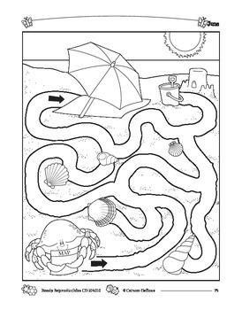 Summer Beach Maze Grades K-1