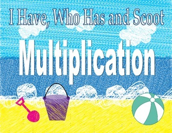 Summer Beach Multiplication I Have, Who Has and Scoot