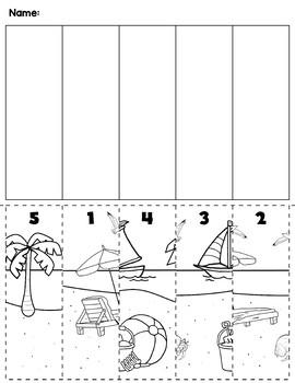 Summer Beach Number Order Cut & Paste Scene