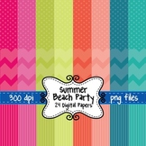 Summer Beach Party Digital Background Papers in Chevron, P