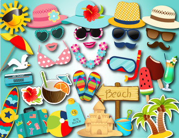 Summer Beach Party Photo Booth Props Beach Vacation Summer Fun Photobooth Prop