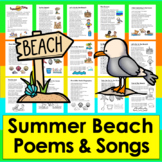 Summer Beach Poems/Songs - (Summer) Color and B/W To Color-Summer School