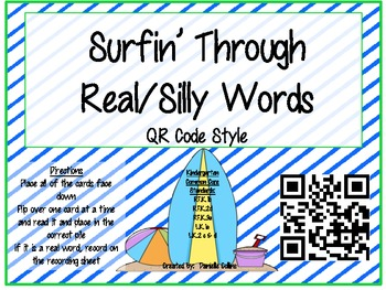 Summer Beach Real vs Silly Words QR Code (Common Core)