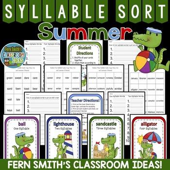 Summer Syllable Sort Center Games
