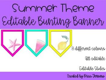 Summer/Beach Theme Editable Bunting Banner