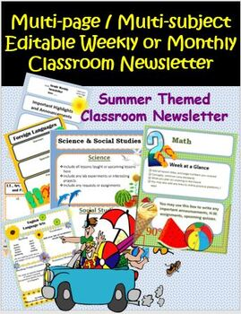 Summer Beach Themed Editable Weekly or Monthly Classroom Newsletter
