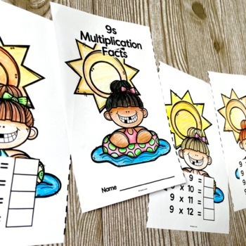 Summer Beach Themed Multiplication Facts Practice Books