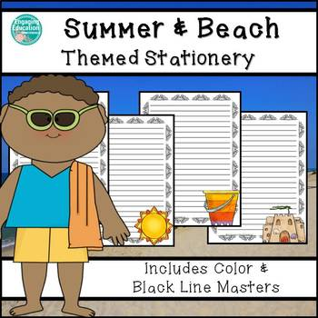 summer beach themed stationery paper by engaging education materials
