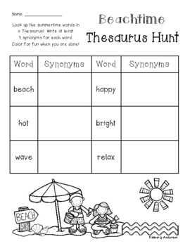 Summer / Beach Thesaurus Hunt - Practice - Synonyms (End of the Year)