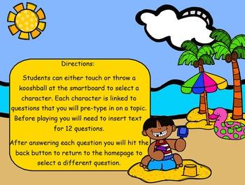 Summer Beach Trip Kooshball Game for SMARTboard