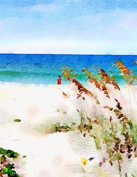 Watercolor Summer Beach Landscapes Clip Art